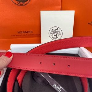 Hermes Accessories - Hermes Red & Pink Reversible Leather 32mm Belt